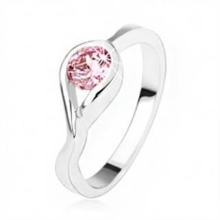 Strieborný zásnubný prsteň 925, okrúhly ružový zirkón, zatočené ramená - Veľkosť: 50 mm
