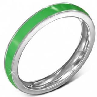 Tenký oceľový prsteň - obrúčka, zelený pruh, okraj striebornej farby - Veľkosť: 51 mm