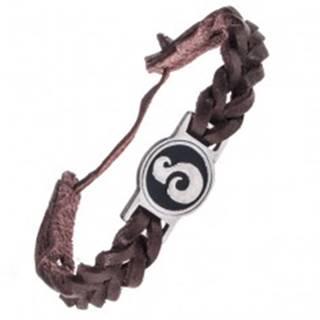 Tmavohnedý kožený náramok - okrúhla známka, esovitý ornament