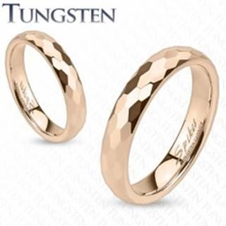 Tungstenová obrúčka - zlatoružovej farby, brúsenie do šesťhranov - Veľkosť: 47 mm
