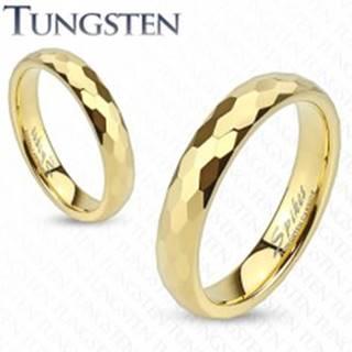 Wolfrámový prsteň - obrúčka zlatej farby s brúsením do šesťhranov - Veľkosť: 46 mm