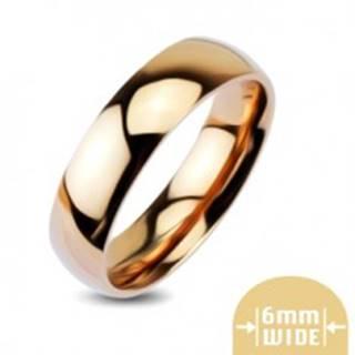Zaoblená lesklá kovová obrúčka v zlatoružovej farbe - Veľkosť: 48 mm