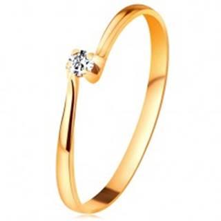 Zásnubný prsteň zo žltého 14K zlata - zirkón v kotlíku medzi zúženými ramenami - Veľkosť: 48 mm