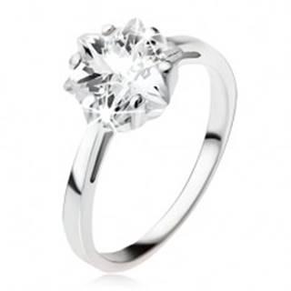 Zásnubný strieborný prsteň 925, masívny číry zirkón - hviezdica - Veľkosť: 49 mm