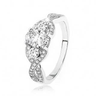 Žiarivý strieborný prsteň 925, prekrížené zvlnené ramená, oválny zirkón - Veľkosť: 49 mm