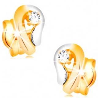 Zlaté 14K náušnice, dvojfarebná kontúra kvapky so žiarivým diamantom