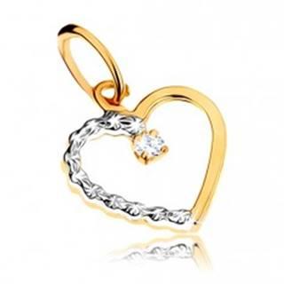Zlatý prívesok 375 - kontúra súmerného dvojfarebného srdiečka, číry kamienok