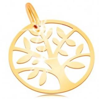 Zlatý prívesok 585 - lesklý a plochý, kruh so stromom života