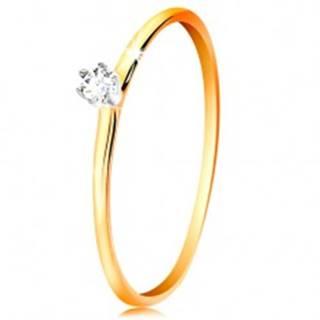 Zlatý prsteň 585 - číry zirkón v kotlíku z bieleho zlata, tenké ramená - Veľkosť: 49 mm