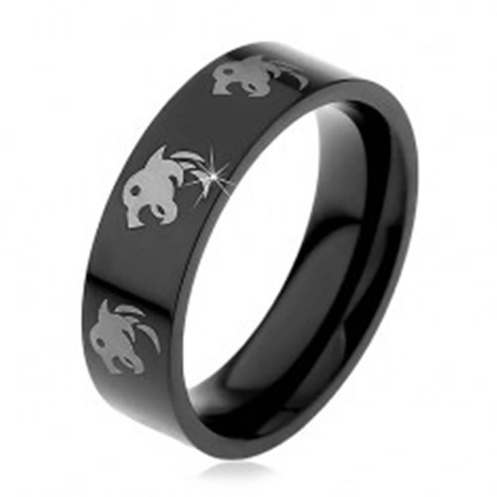 Šperky eshop Čierny prsteň z chirurgickej ocele - vlk - Veľkosť: 48 mm