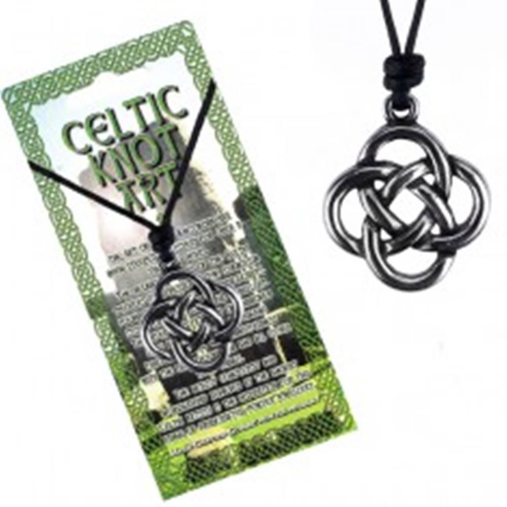 Šperky eshop Čierny šnúrkový náhrdelník, keltský uzol zo štyroch slučiek