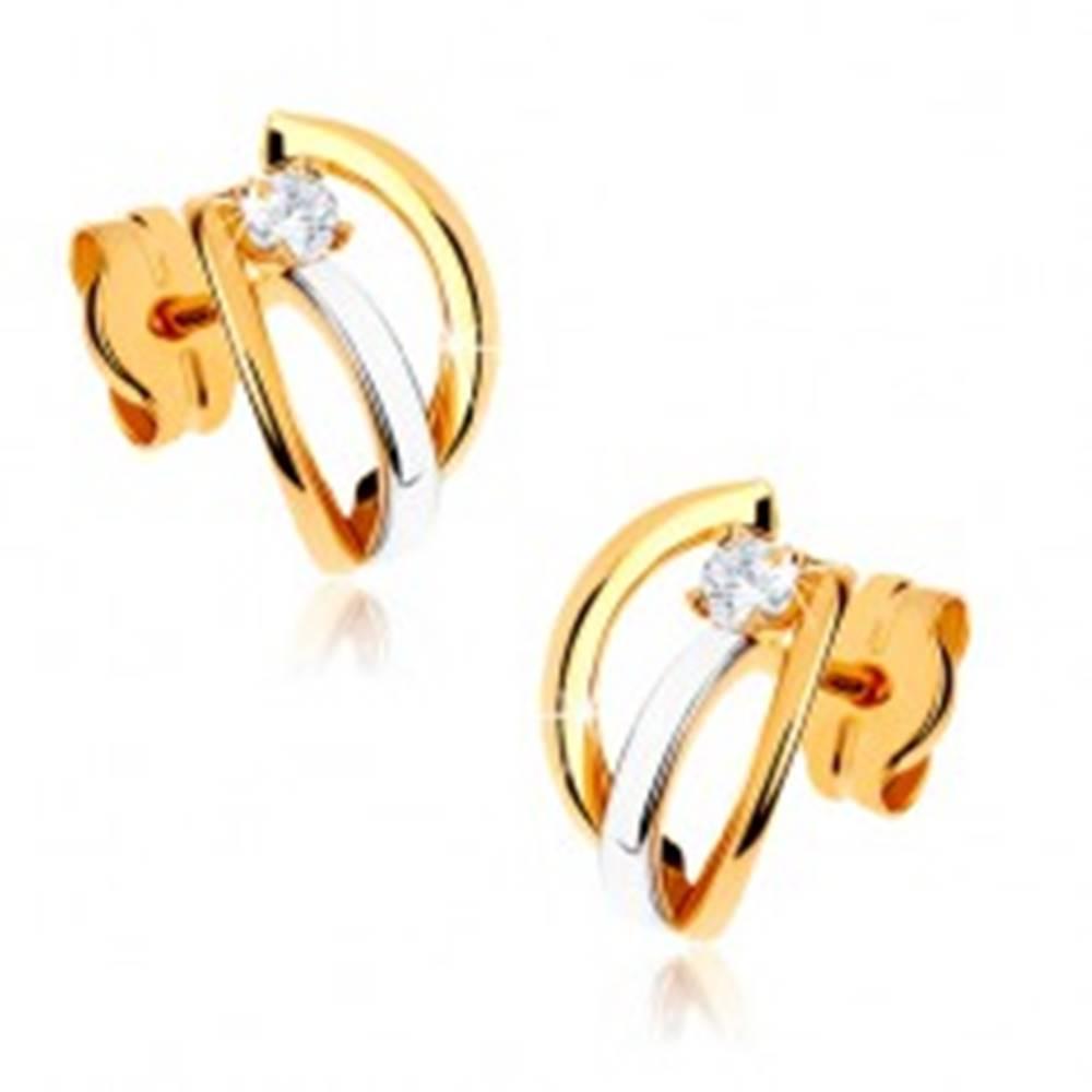Šperky eshop Dvojfarebné zlaté náušnice 375 - tri lesklé oblúčiky, kamienok čírej farby