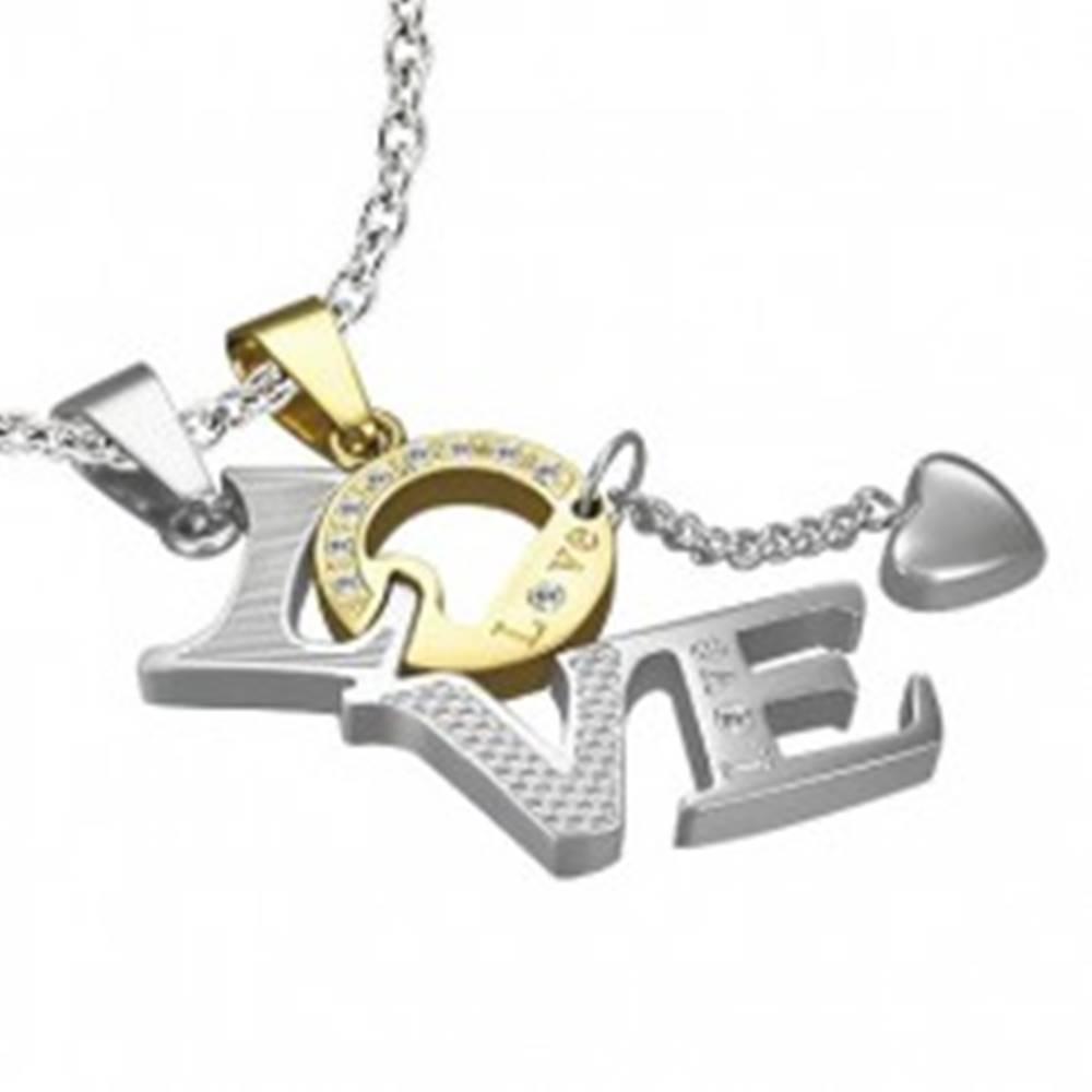 Šperky eshop Dvojitý prívesok z ocele - LOVE, písmeno O zlatej farby