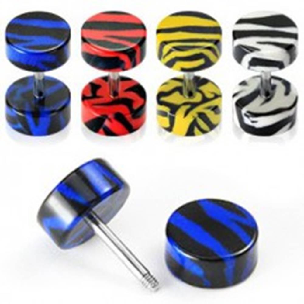 Šperky eshop Fake plug do ucha - tigrí vzor - Farba piercing: Biela
