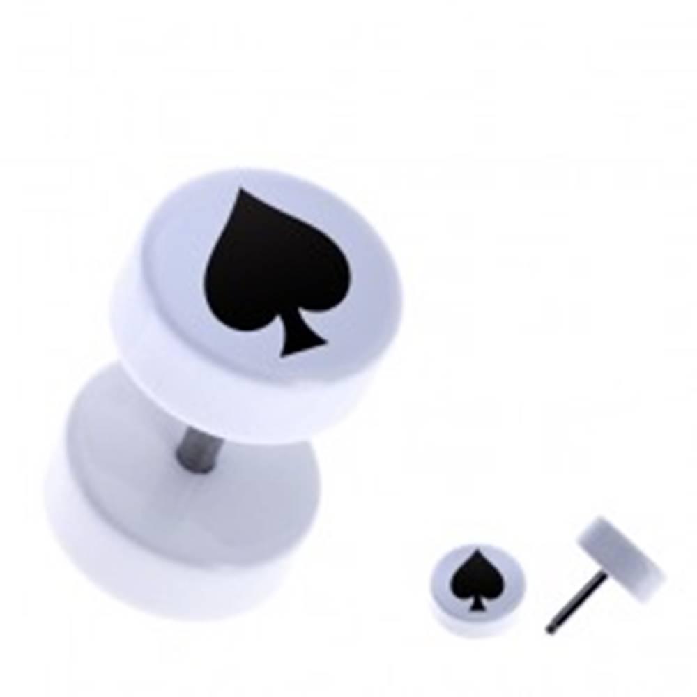 Šperky eshop Falošný akrylový piercing do ucha - okrúhly, čierna pika