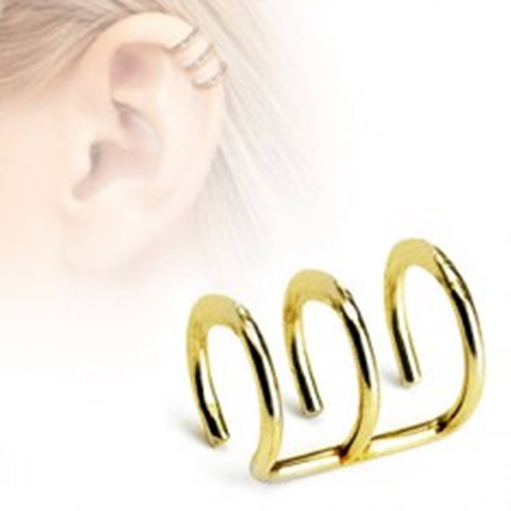 Šperky eshop Falošný oceľový piercing do chrupavky - tri krúžky v zlatom farebnom odtieni