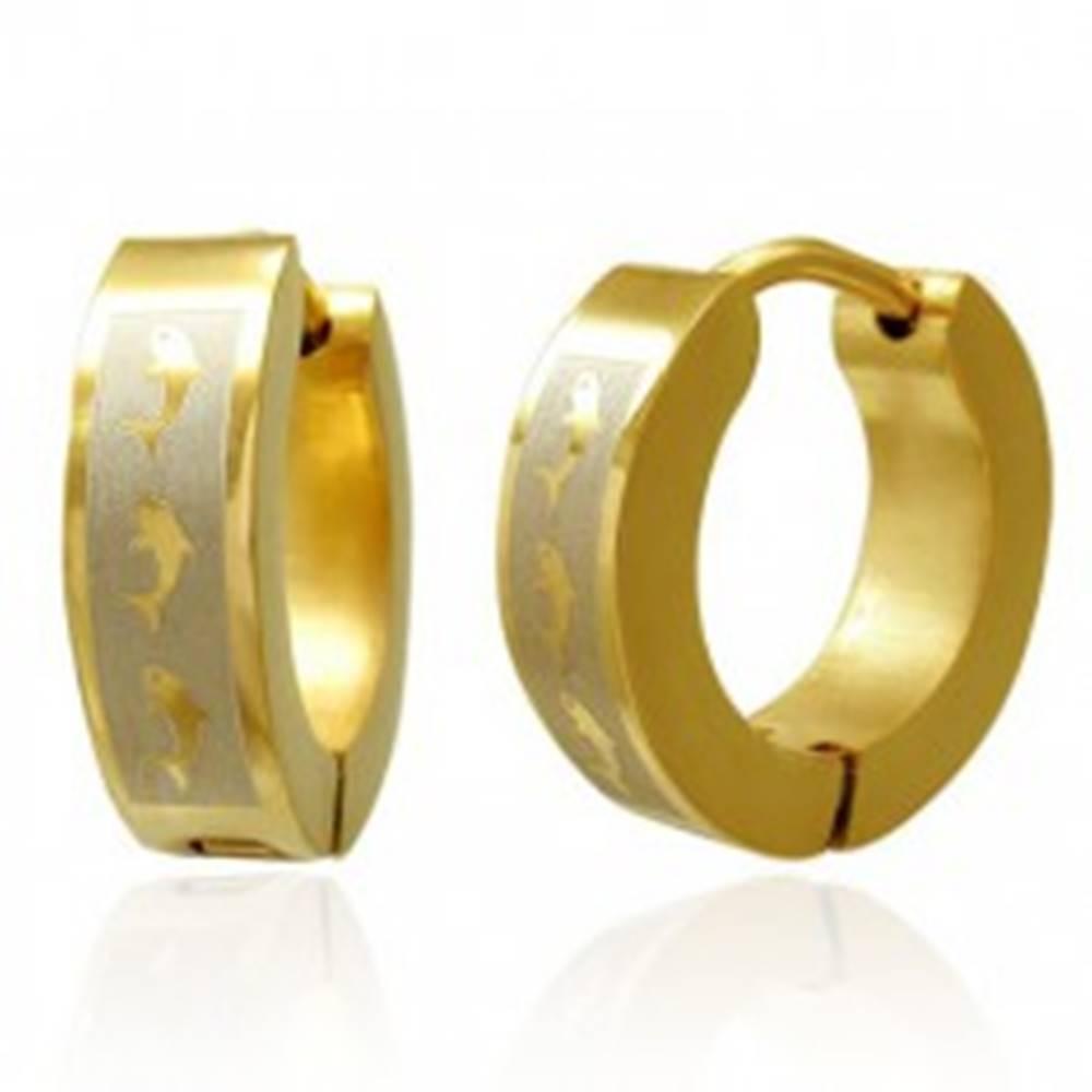 Šperky eshop Kĺbové náušnice z ocele, zlatá farba, pásik v striebornom odtieni s delfínmi