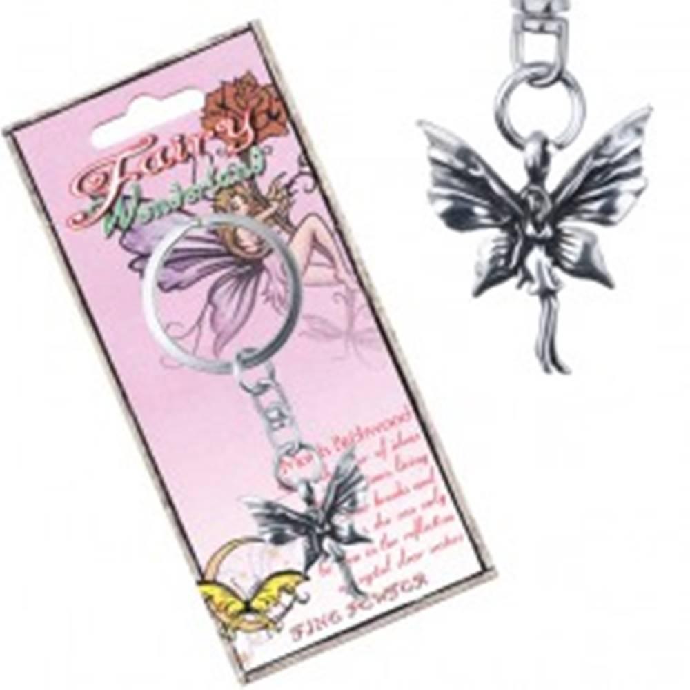 Šperky eshop Kovový prívesok na kľúče - stojaca motýlia víla s patinou