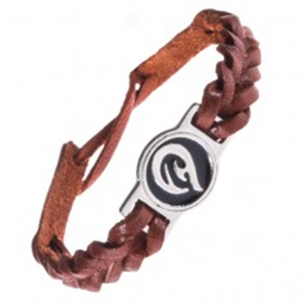 Šperky eshop Kožený náramok - karamelovo hnedý, pletený, TRIBAL ornament