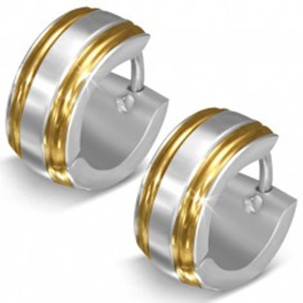 Šperky eshop Lesklé oceľové náušnice, strieborná farba, okraje v zlatom odtieni, zárezy