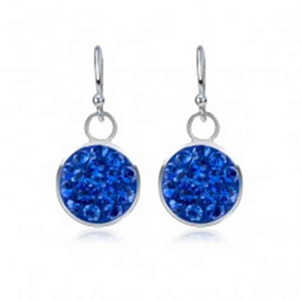 Šperky eshop Lesklé strieborné náušnice 925 - zafírovo modrý kruh, zirkóny, 9 mm