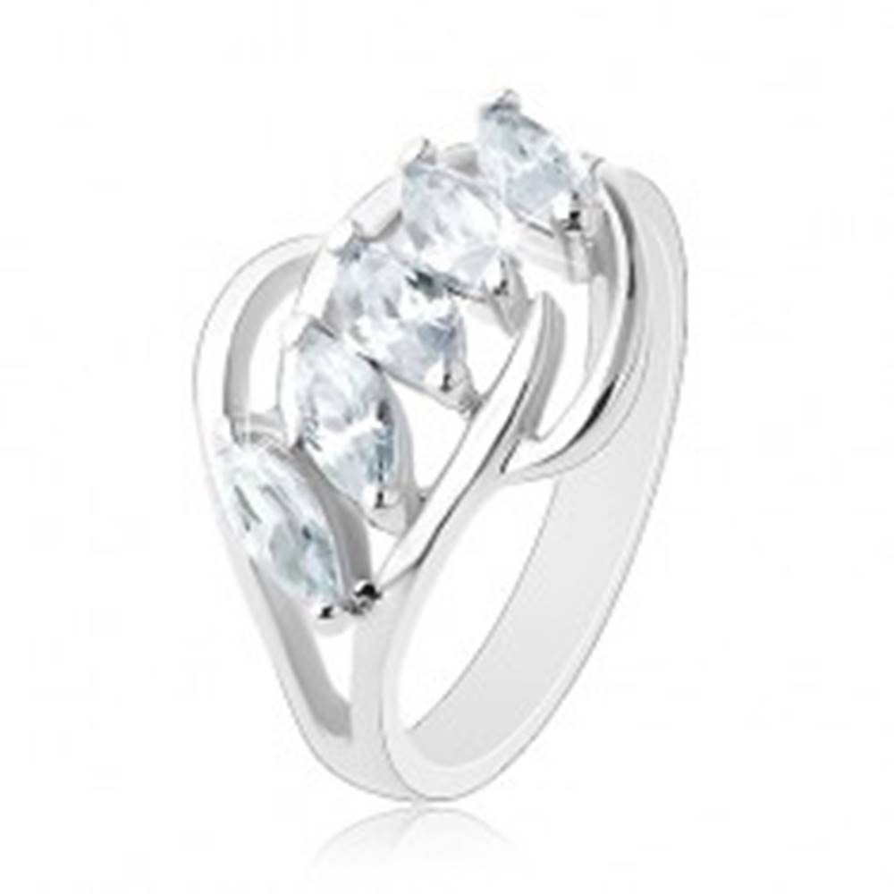Šperky eshop Ligotavý prsteň, línia čírych zirkónov, rozdelené konce ramien - Veľkosť: 48 mm