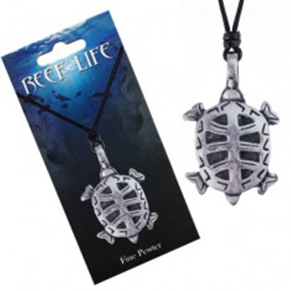 Šperky eshop Náhrdelník - šnúrka, kovový prívesok, vyrezávaná korytnačka