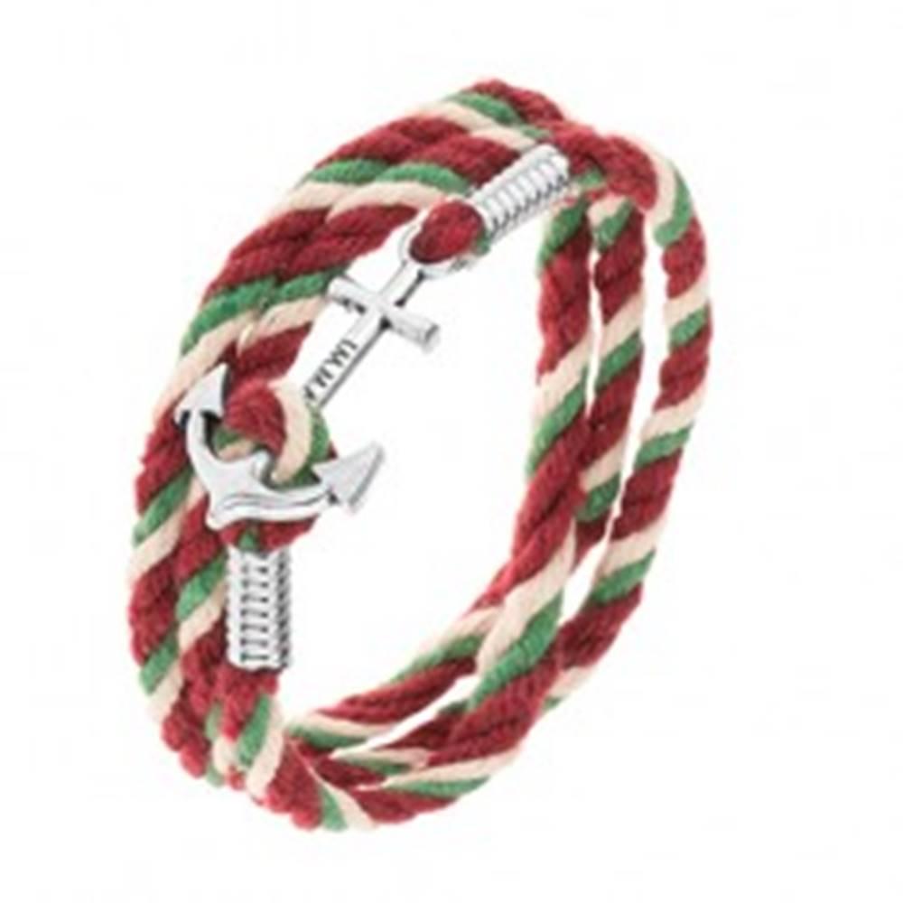 Šperky eshop Náramok z motúzikov zelenej, béžovej a bordovej farby, lesklá lodná kotva