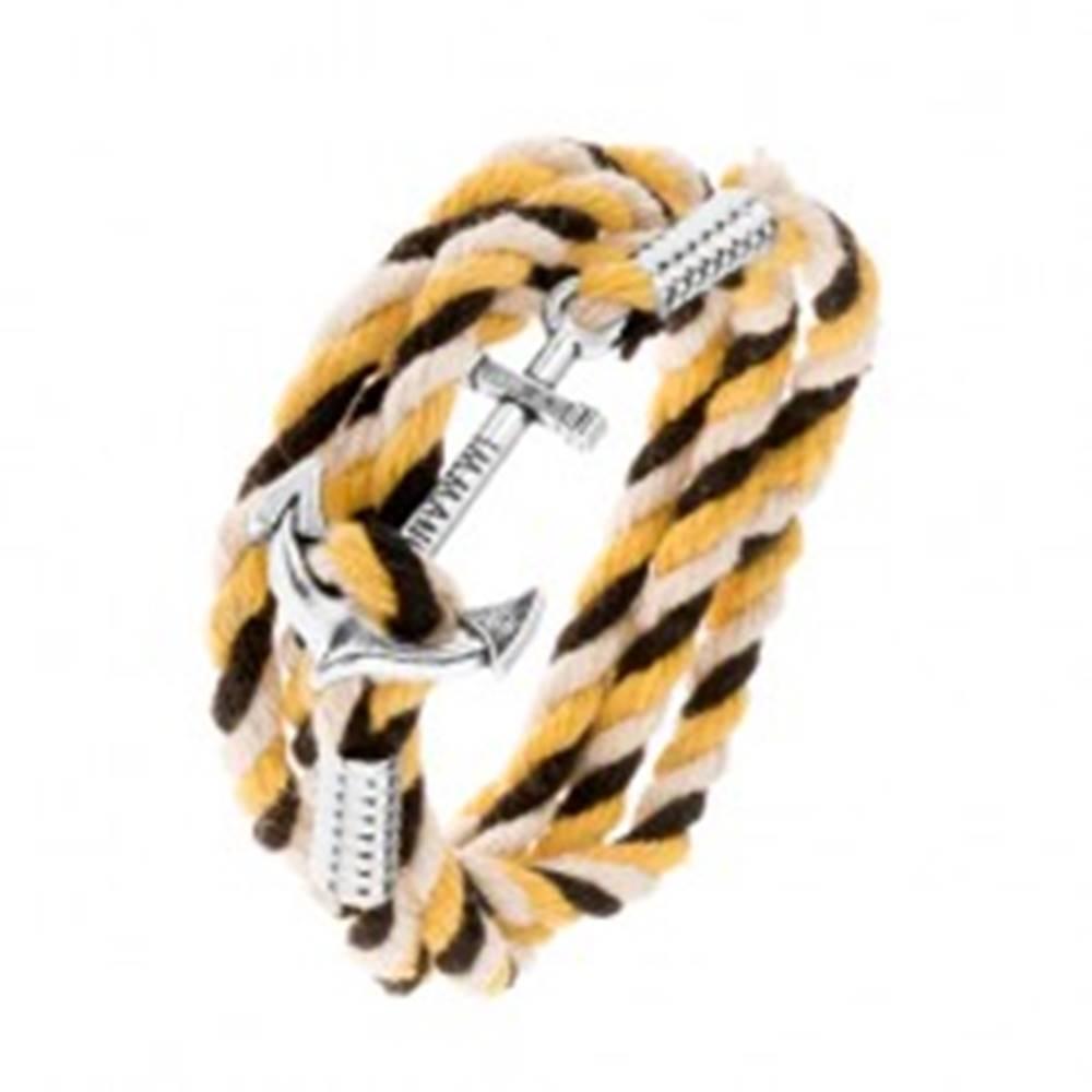 Šperky eshop Náramok zo šnúrok čiernej, béžovej a žltej farby, lodná kotva