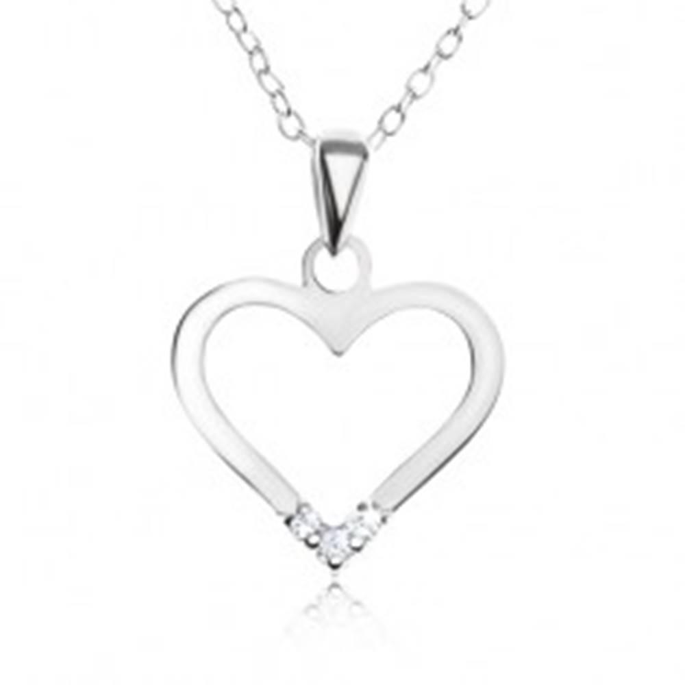 Šperky eshop Nastaviteľný náhrdelník - striebro 925, prívesok kontúra srdca, číre zirkóny