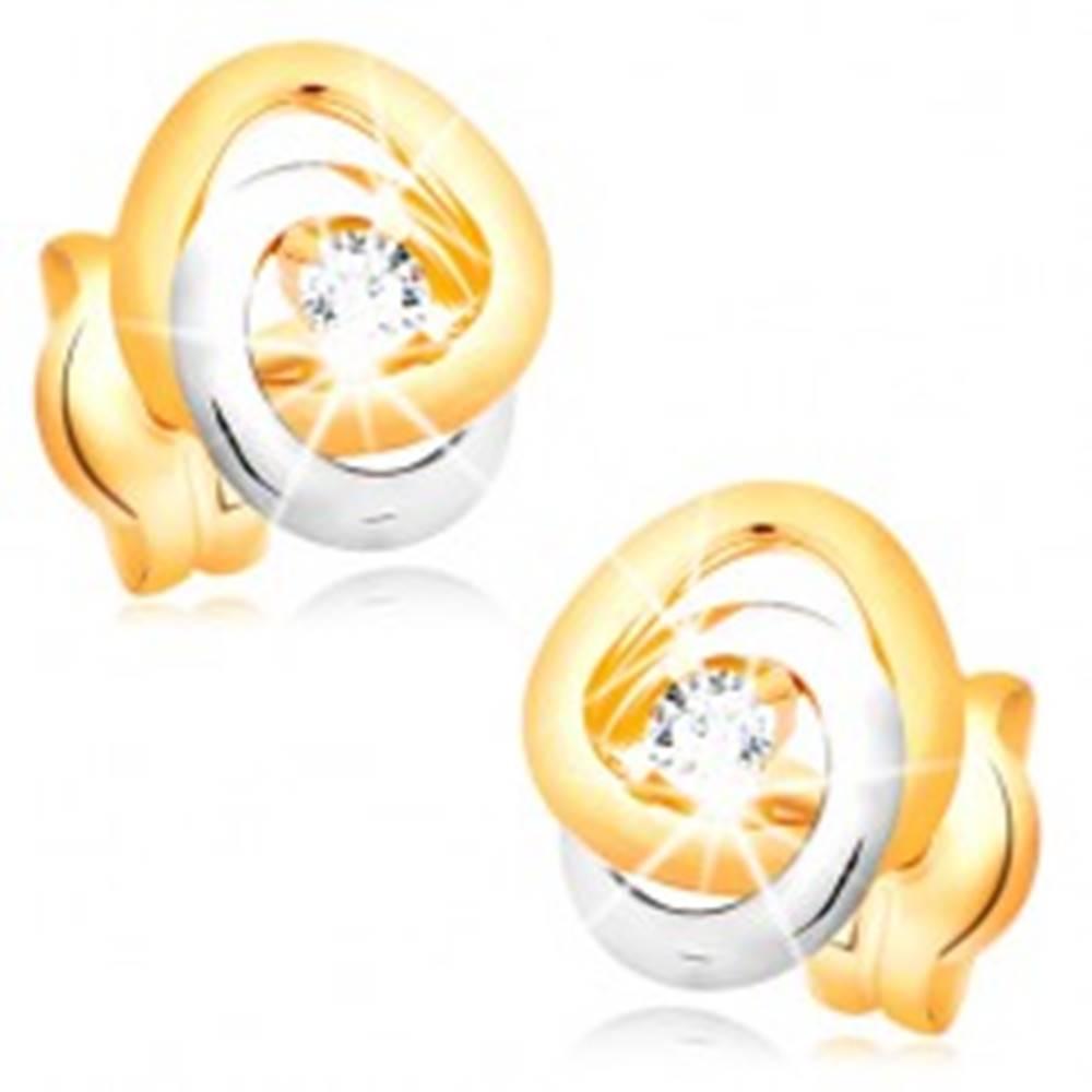 Šperky eshop Náušnice v 14K zlate - dvojfarebné prepojené prstence, trblietavý číry briliant
