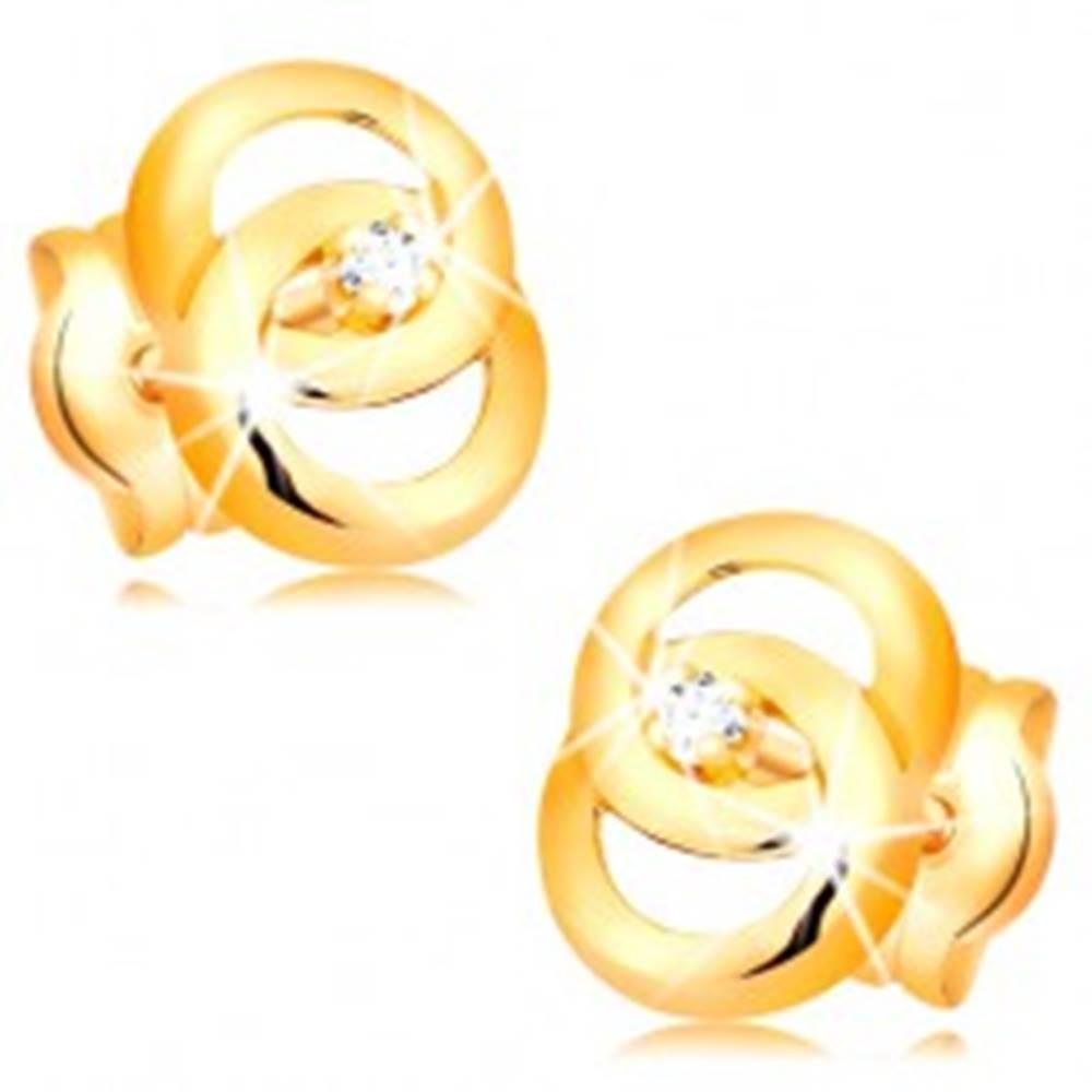 Šperky eshop Náušnice v žltom 14K zlate - dva prepojené prstence, briliant uprostred