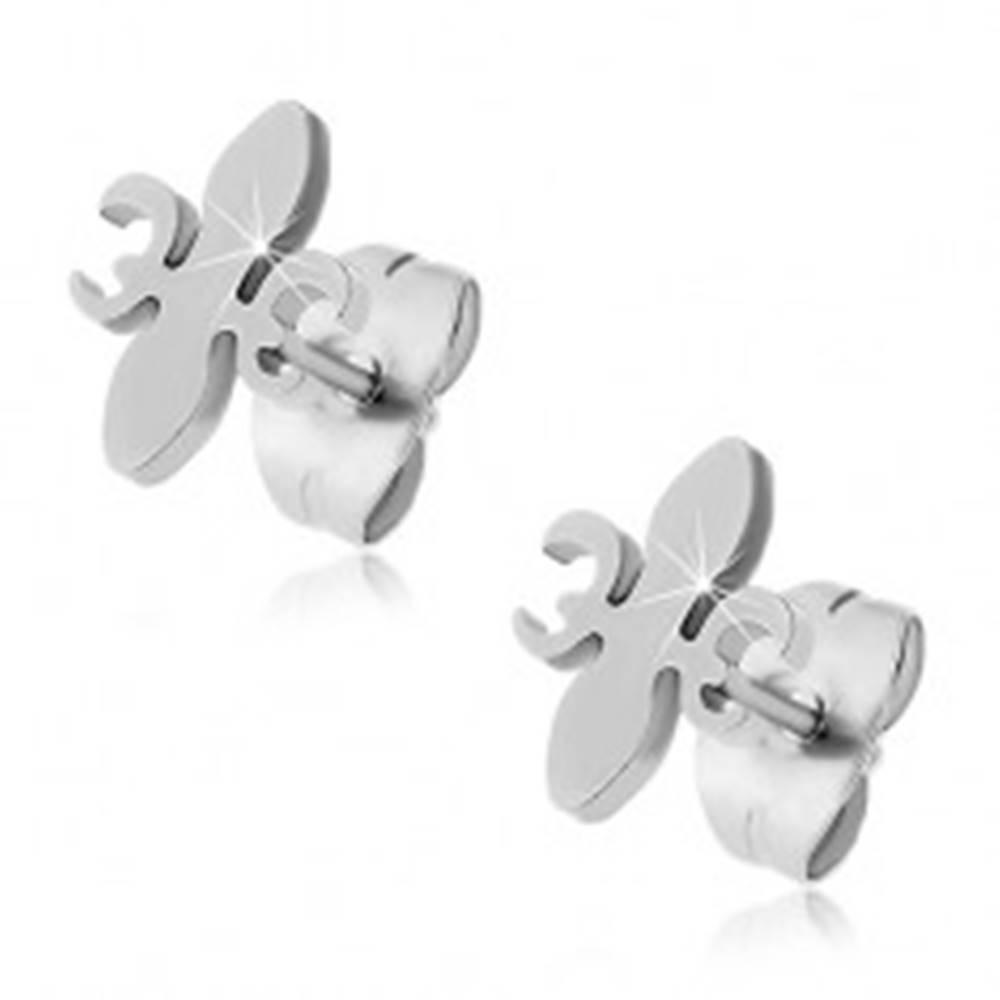 Šperky eshop Náušnice z chirurgickej ocele - Fleur De Lis - Tvar hlavičky: Širší stred