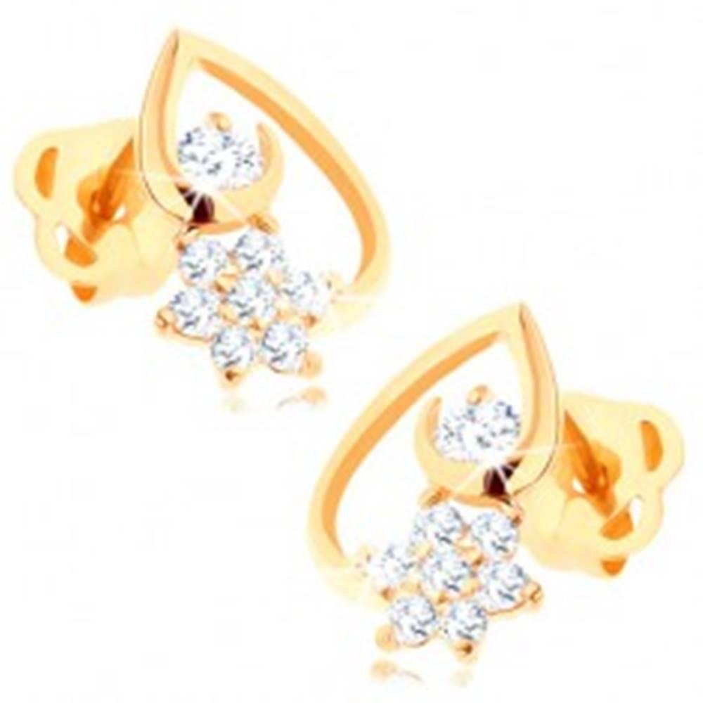 Šperky eshop Náušnice zo žltého 14K zlata - kontúra kvapky, číry kvietok a zirkónik