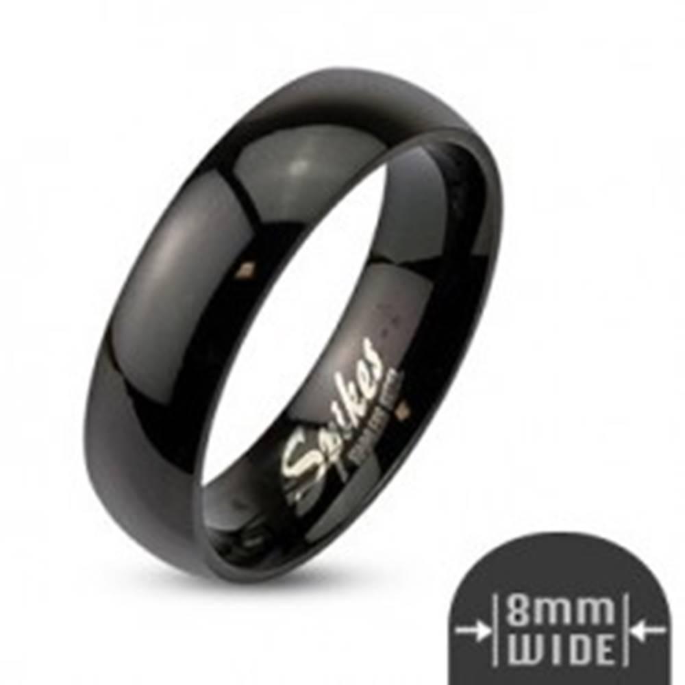 Šperky eshop Oceľová obrúčka čiernej farby, lesklý a hladký povrch, 8 mm - Veľkosť: 59 mm
