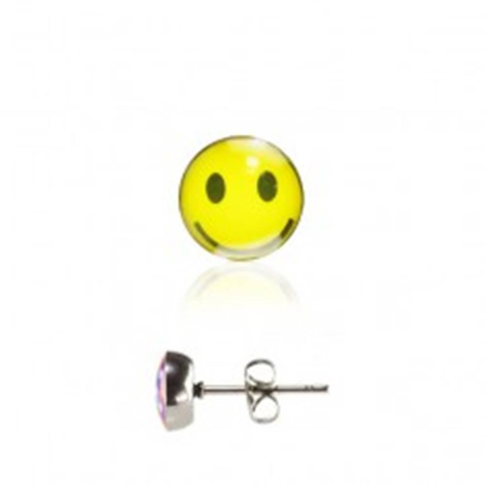 Šperky eshop Oceľové náušnice s puzetkou, glazúrovaná hlavička, žltý usmievavý smajlík