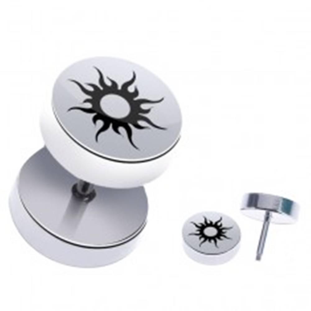 Šperky eshop Oceľový fake piercing do ucha - lesklé kolieska so slnkom