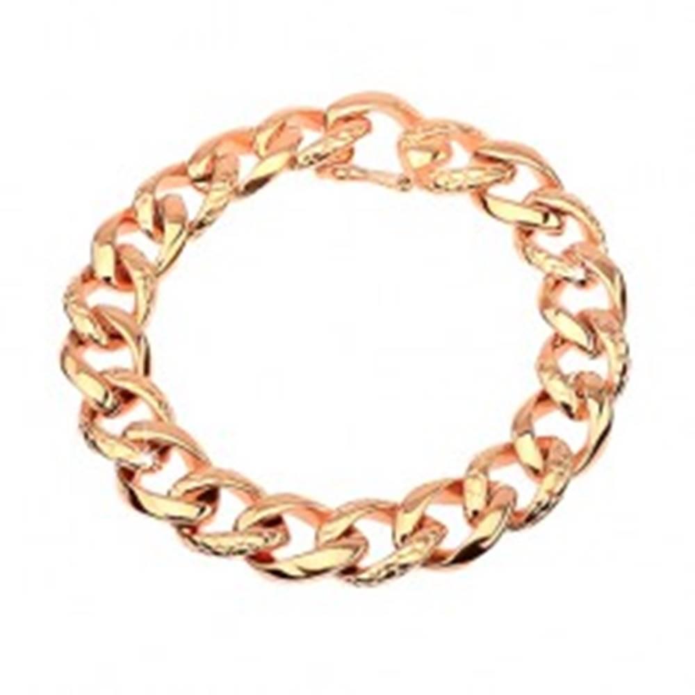 Šperky eshop Oceľový náramok - hrubá reťaz zdobená hadím vzorom, medená farba