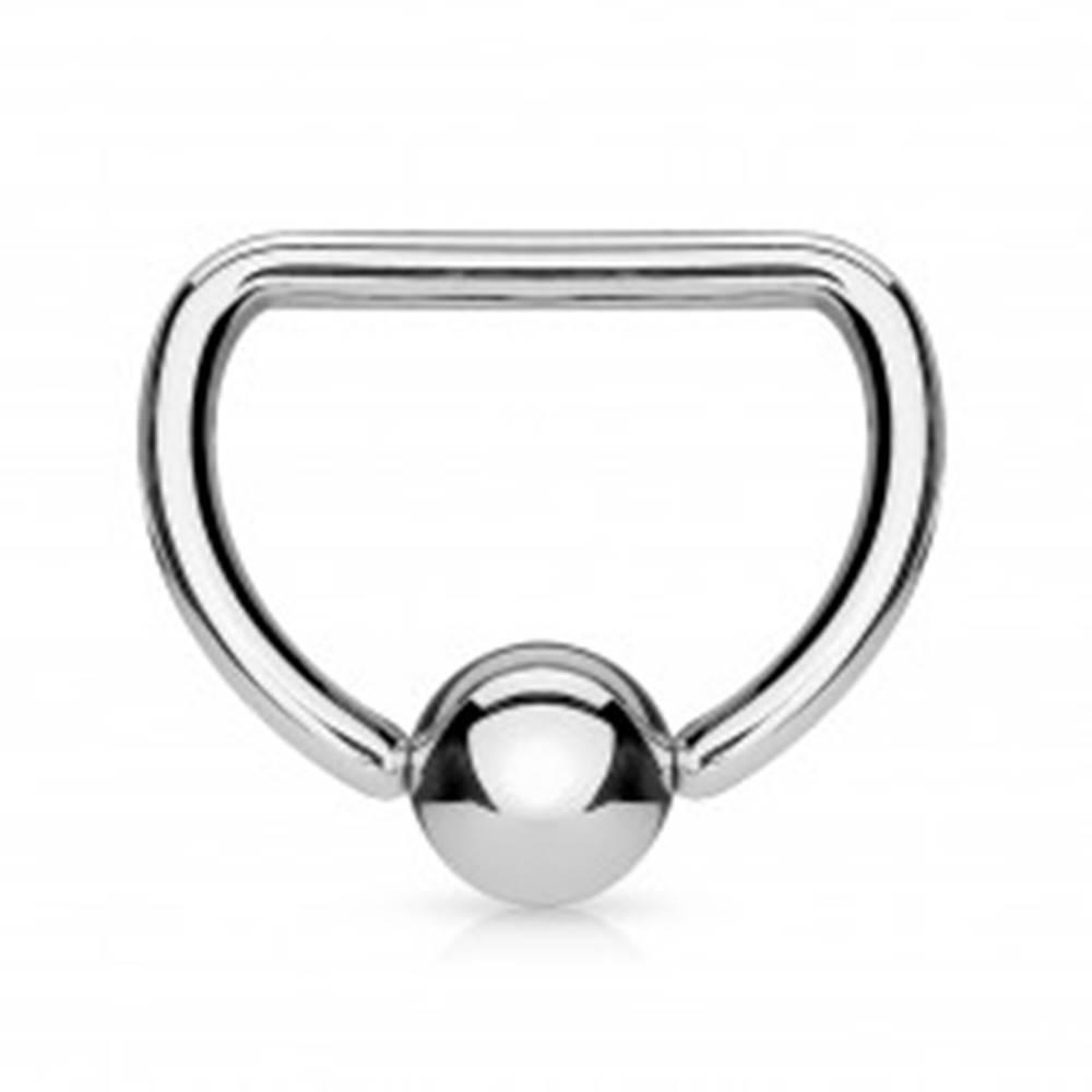 Šperky eshop Oceľový piercing 316L - krúžok v tvare písmena D s lesklou guličkou - Rozmer: 1,2 mm x 10 mm