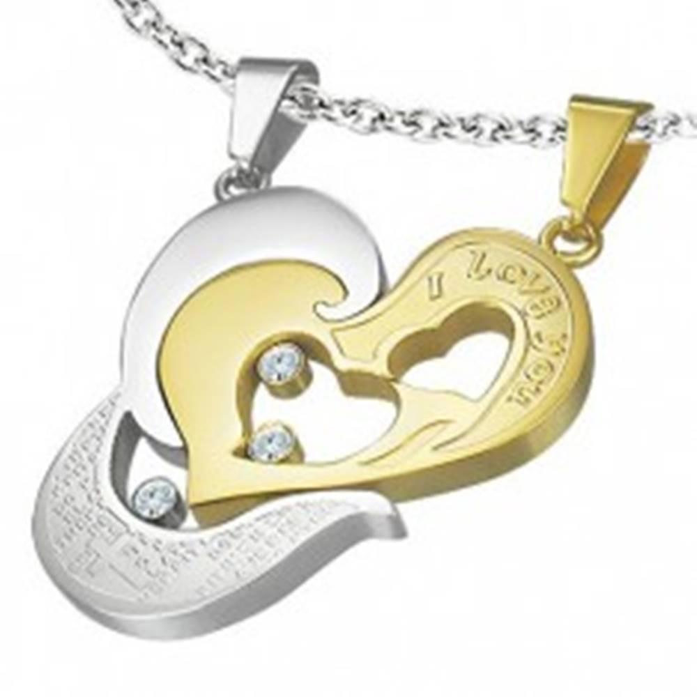 Šperky eshop Oceľový prívesok dvojdielny - srdce zlatej a striebornej farby, I love you, krížik