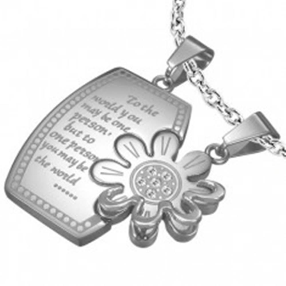 Šperky eshop Oceľový prívesok pre dvoch - obdĺžnik, kvet so zirkónmi
