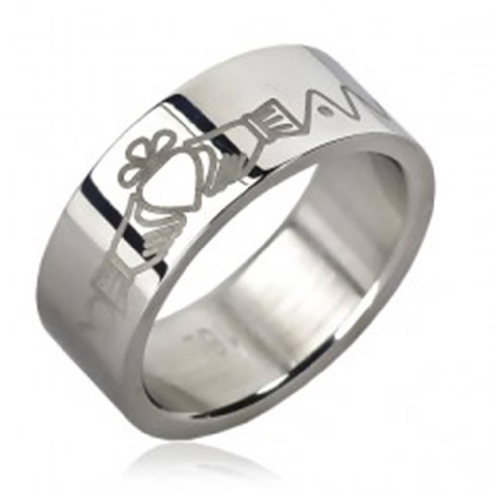 Šperky eshop Oceľový prsteň - srdce v rukách, zúbky, retiazka - Veľkosť: 51 mm