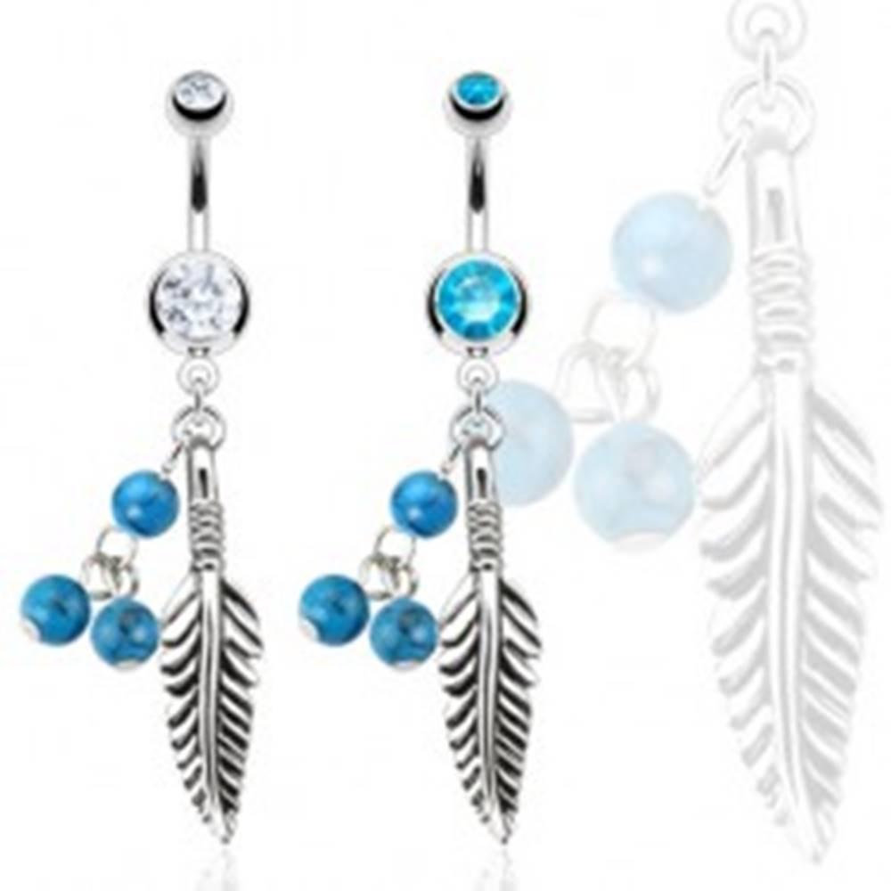 Šperky eshop Piercing do bruška z ocele 316L - pierko s tyrkysovými guličkami - Farba zirkónu: Aqua modrá - Q