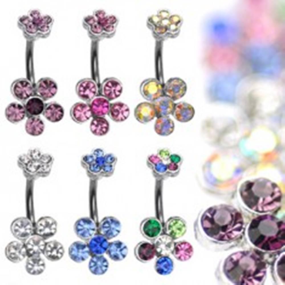 Šperky eshop Piercing do bruška z ocele s farebnými zirkónovými kvetmi - Farba zirkónu: Číra - C