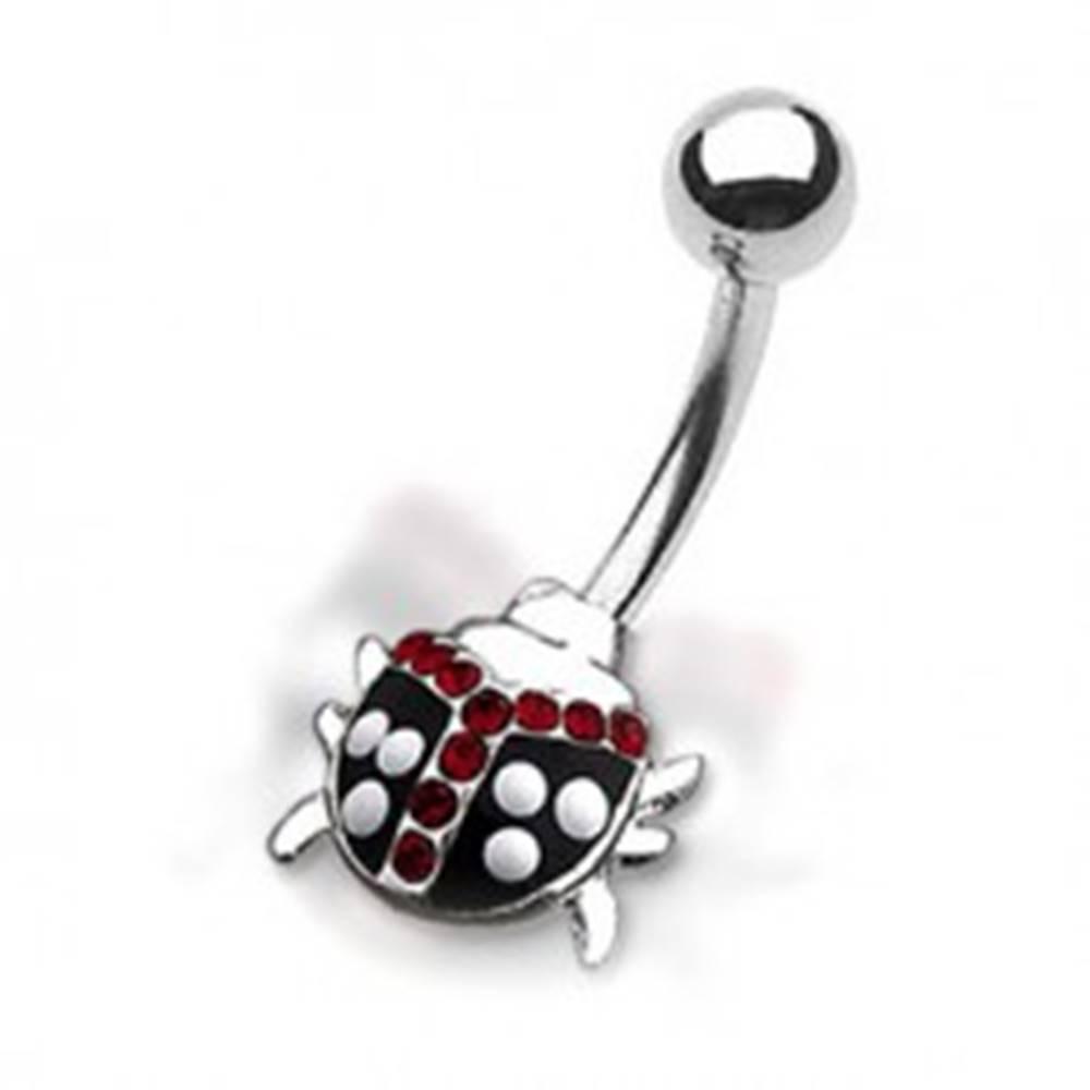 Šperky eshop Piercing do pupku - bodkovaná lienka s červenými zirkónmi