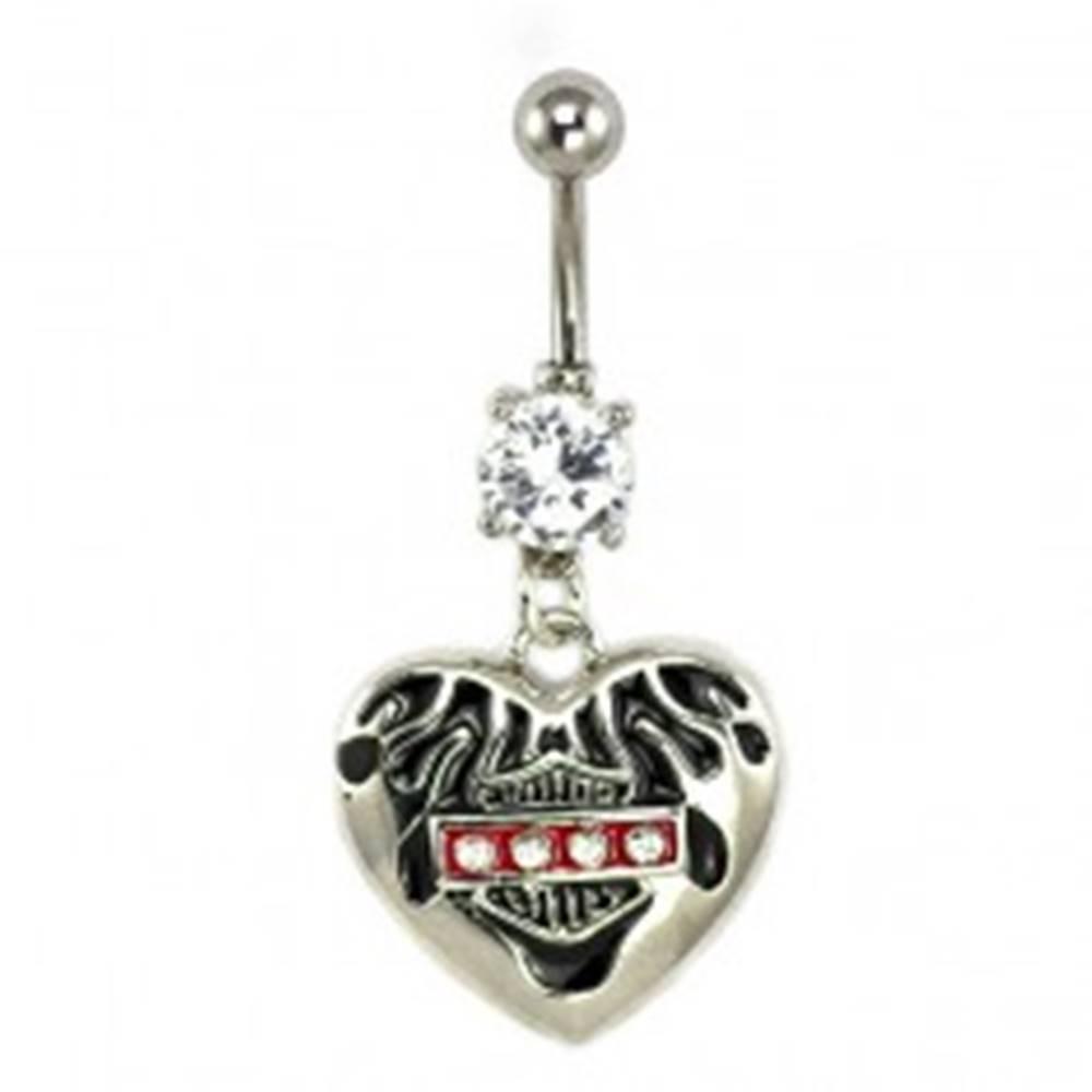 Šperky eshop Piercing do pupku Harley srdce so zirkónmi