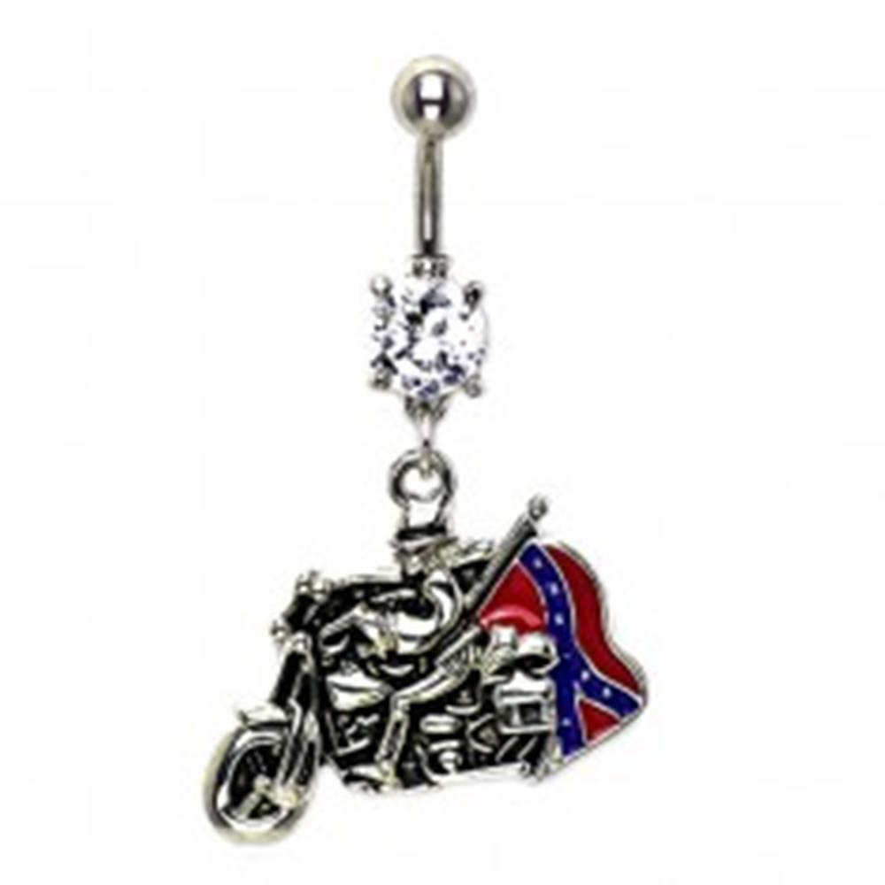 Šperky eshop Piercing do pupku jazdec s vlajkou a zirkónom