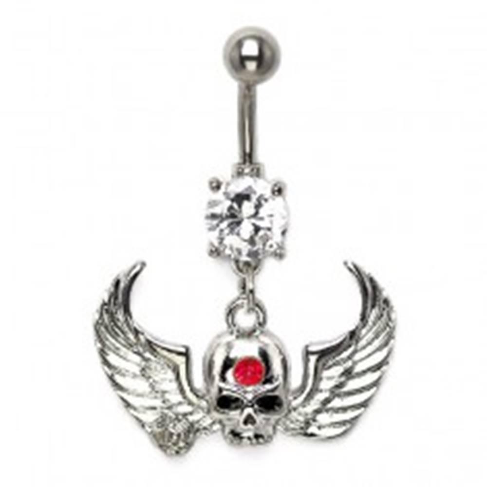 Šperky eshop Piercing do pupku lebka s krídlami