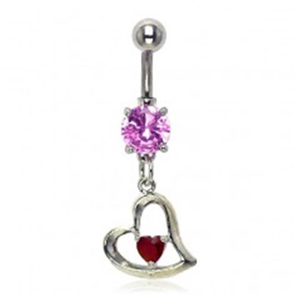 Šperky eshop Piercing do pupku šikmé srdiečko, ružový a červený zirkón
