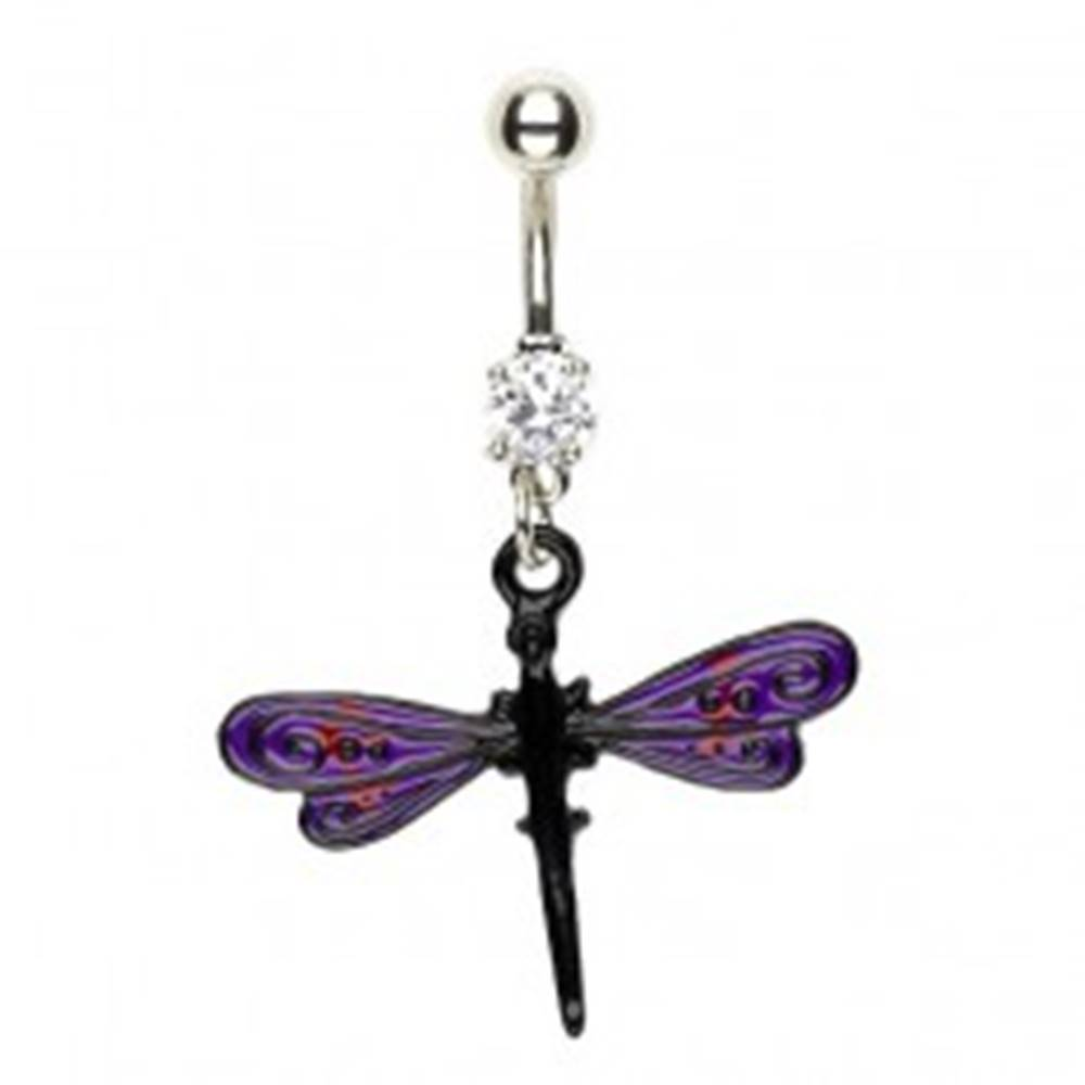 Šperky eshop Piercing do pupku vážka - fialovo čierne krídla